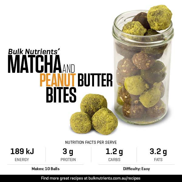 Matcha and Peanut Butter Bites