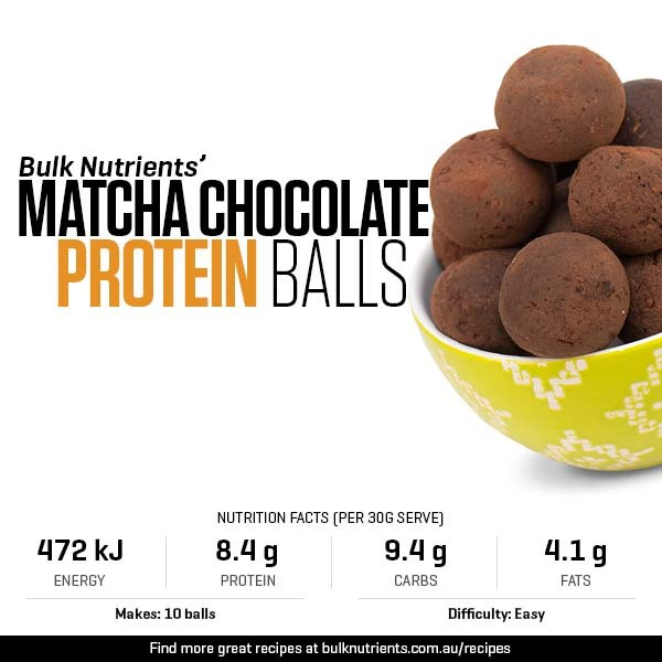 Matcha Chocolate Protein Balls