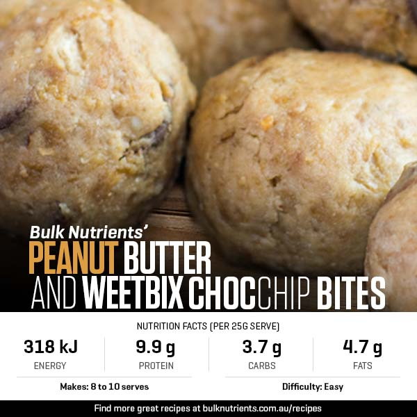 Peanut Butter And Weetbix Choc Chip Bites