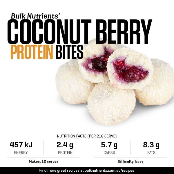 Protein Coconut Berry Bites