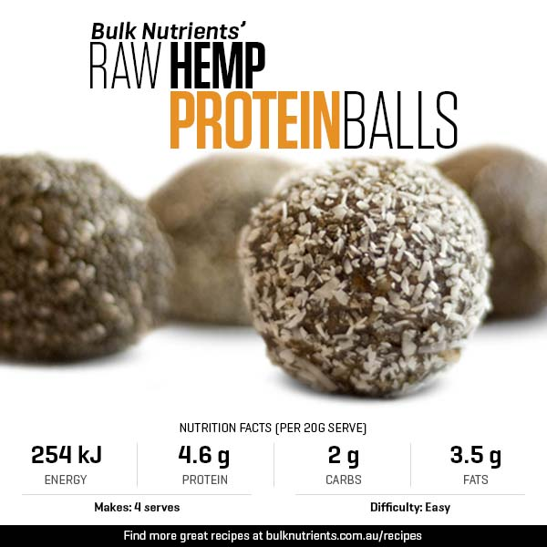 Raw Hemp Protein Powder Balls - Bulk Nutrients