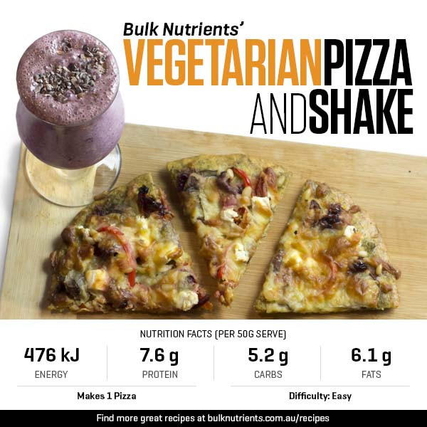 Protein-Packed Dinner - Vegetarian Pizza and Shake