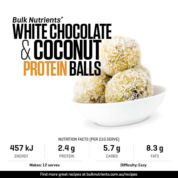 White Chocolate & Coconut Protein Balls