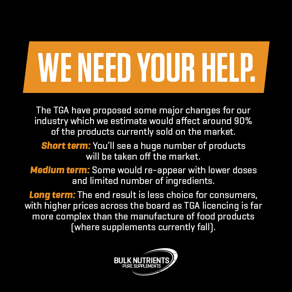Bulk Nutrients' Response To The Latest TGA Proposed Changes To Supplements Legislation