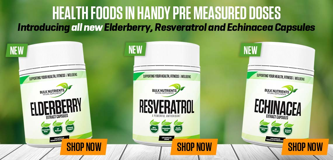 Health foods in handy pre measured doses - Introducing all new Elderberry, Resveratrol and Echinacea Capsules