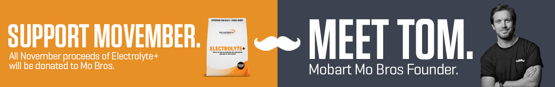 Support Movember. All November proceeds of Electrolyte+ will be donated to Mo Bros. Meet Tom. Mobart Mo Bros Founder.