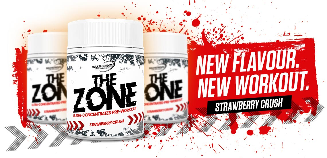 Bulk Nutrients' The Zone Pre Workout is now available in Strawberry Crush!
