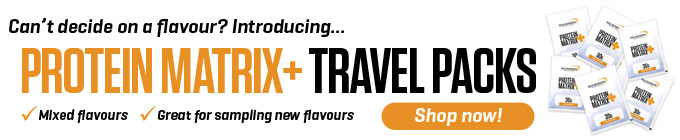 Bulk Nutrients' Protein Matrix+ is also available in Travel Packs