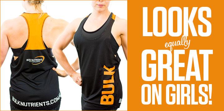The all new Bulk Nutrients Unisex Stringer looks great on girls!