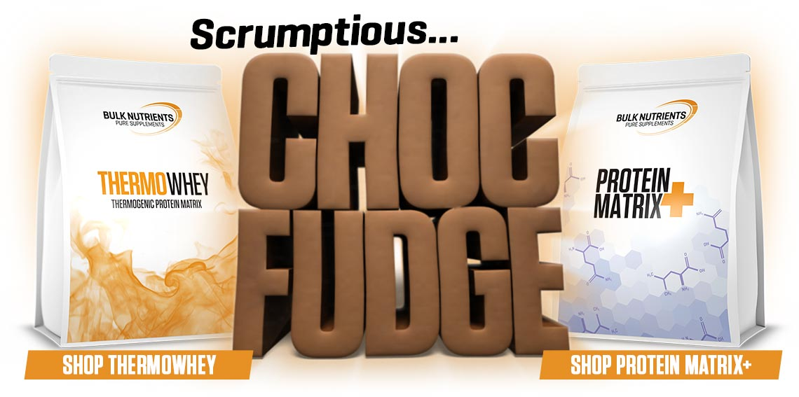All new Choc Fudge is available for a limited time in Protein Matrix+ and Thermowhey