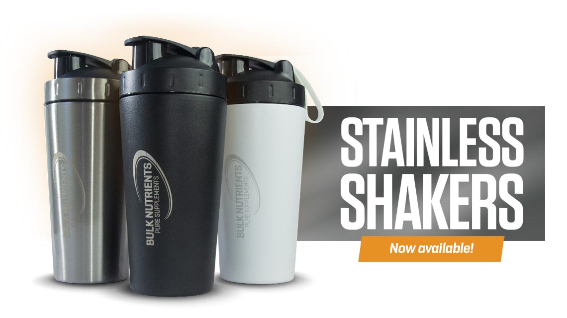 Bulk Nutrients Stainless Steel Shakers are now available. Add one to your cart today!
