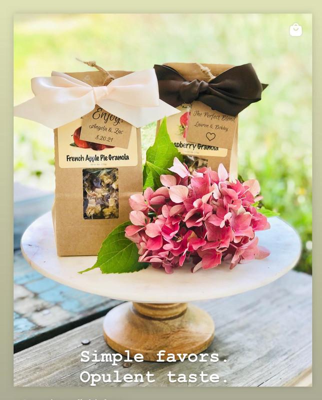 French Apple Pie or Raspberry Granola Wedding Favor w/Tags & Ribbon/ 25 bag minimum