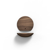 4 inch boop shelf in walnut front and bottom view