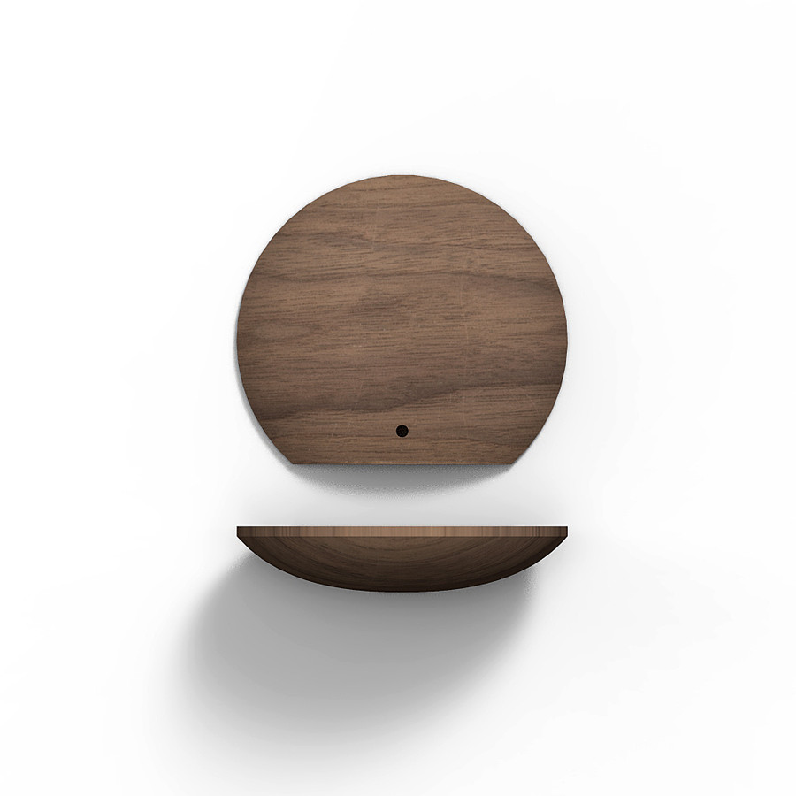 5 inch boop shelf in walnut front and bottom view