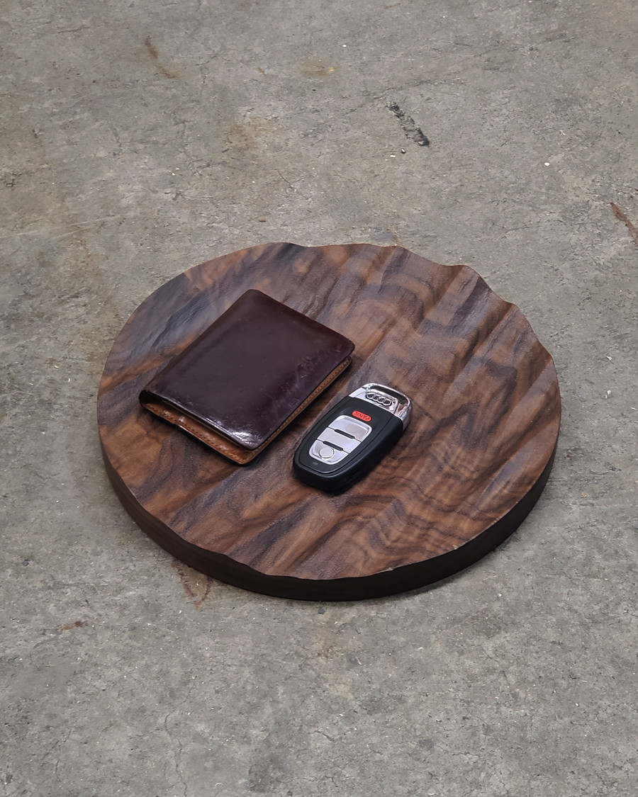 bolsa ocean catchall in walnut with items in place