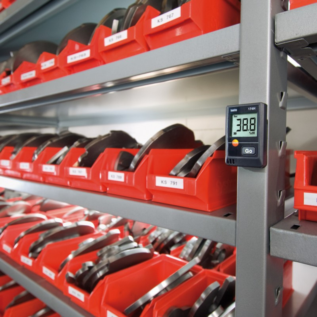 Testo 174H humidity and temperature data logger being used in a typical installation.