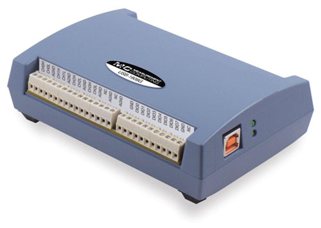 Measurement Computing USB-1608G data acquisition module.