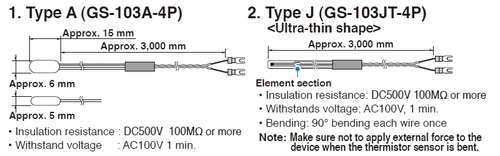 Graphtec GS-103AT thermistor temperature probe specifications.