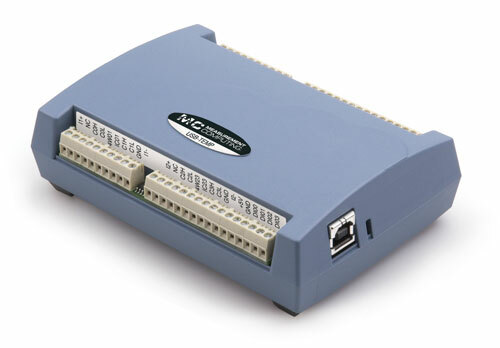 Measurement Computing USB-TEMP data acquisition module.