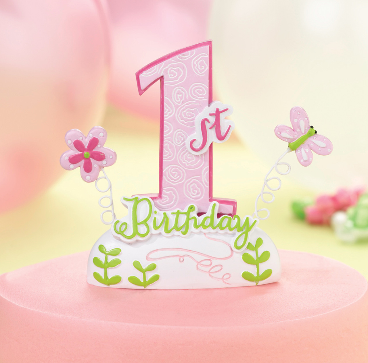 Wondrous 1St Birthday Cake Top Pink Personalised Birthday Cards Rectzonderlifede