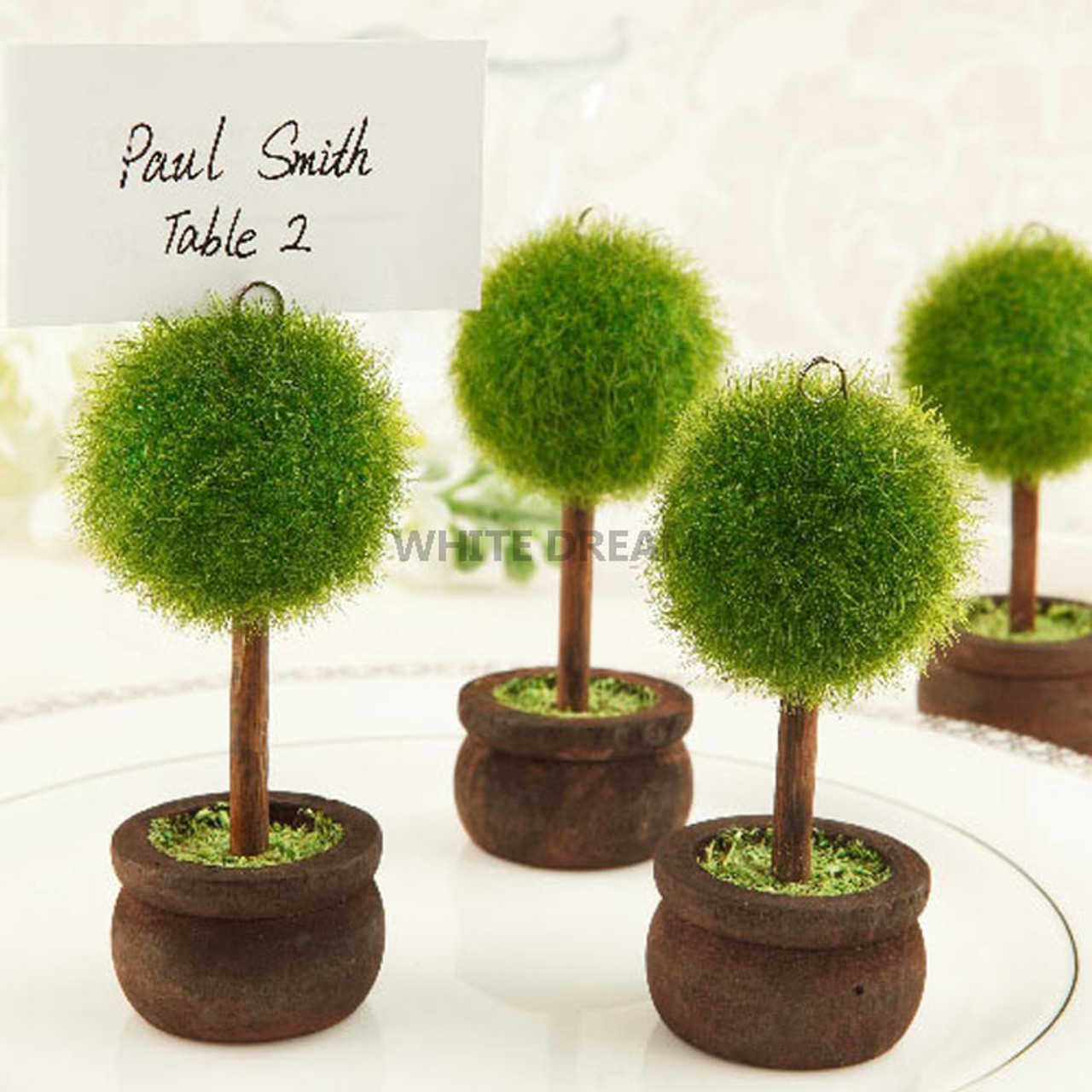 Unique Topiary Tree Design Place Card Holders Wedding Favours Table Decoration