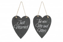 2 Assorted Hanging Wedding Slate Hearts 'Just Married And The New Mr. And Mrs.'