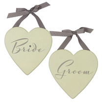 Amore Set of 2 MDF Heart Plaques 20cm 'Bride And Groom'