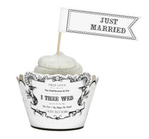 Set of 12 Cupcake Pick Just Married