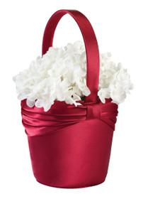 Satin Flower Basket Red