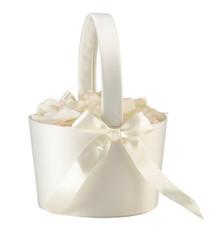 Large Round Flower Basket Cream