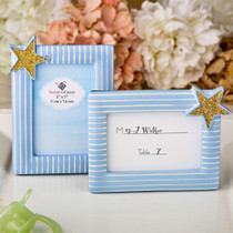 Blue And Gold Photo Frame, Place Card Frame From White Dream
