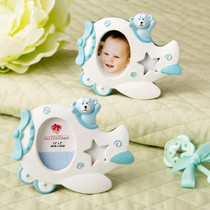 Adorable Blue Airplane Design Photo Frame With Teddy Bear Decoration.