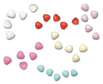 1kg Chocolate Heart Dragees 1cm Assorted Colour Box
