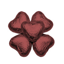 100 Solid Milk Chocolate Hearts Burgundy