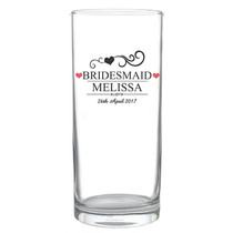 Personalised Mr & Mrs Bridesmaid Hi Ball Glass