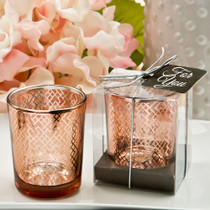 Stunning Rose Gold Mercury Candle Votive in Gold With A Geometric Design