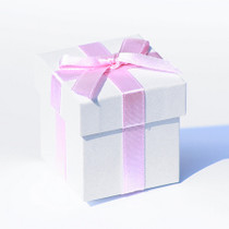 6 x White Pearlised Box With Pink Ribbon And Tissue Paper