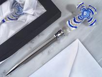 Murano Art Deco Collection Letter Opener Blue Glass Cross