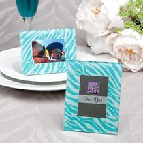 Aqua Blue Zebra Pattern Place Card Holder, Picture Frame Favours