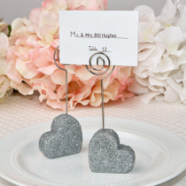 Heart Themed Silver Glitter Place Card Holder From White Dream