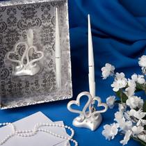 Interlocking Hearts Design Wedding Pen Set