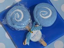 Sweet Treats Collection Blue Lollipop Towel Favour.