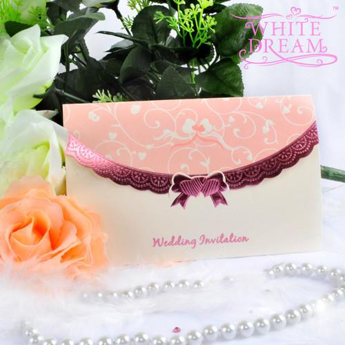 Personalised Elegant Pink Wedding Invitations
