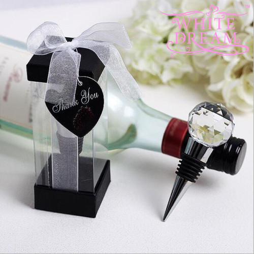 Crystal Round Design Wine Bottle Stopper   Wedding Favours   Gift   High Quality