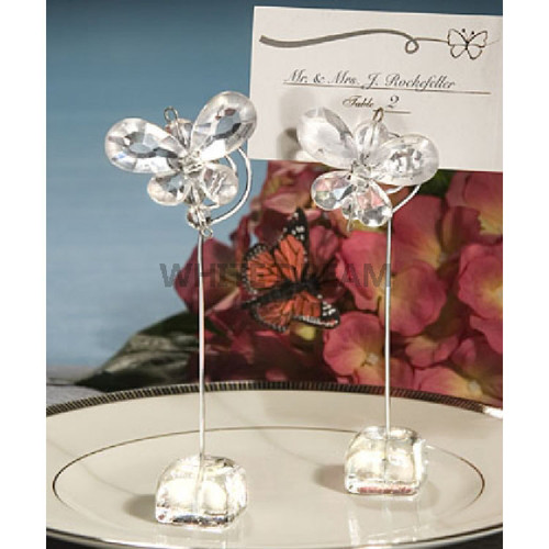 Clear - Butterfly Crystal - Place Card Holder