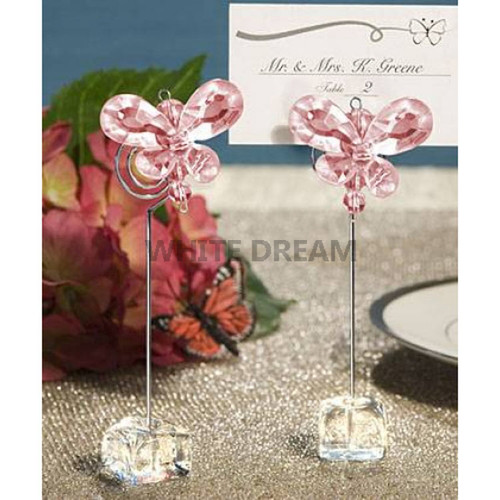 Pink - Butterfly Crystal - Place Card Holder