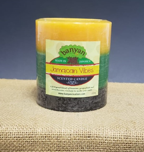 12oz Jamaica Style Pillar candle scented w/Caribbean Vibes