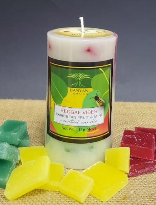 Caribbean Vibes Reggae Style Chunky Pillar candle-4oz