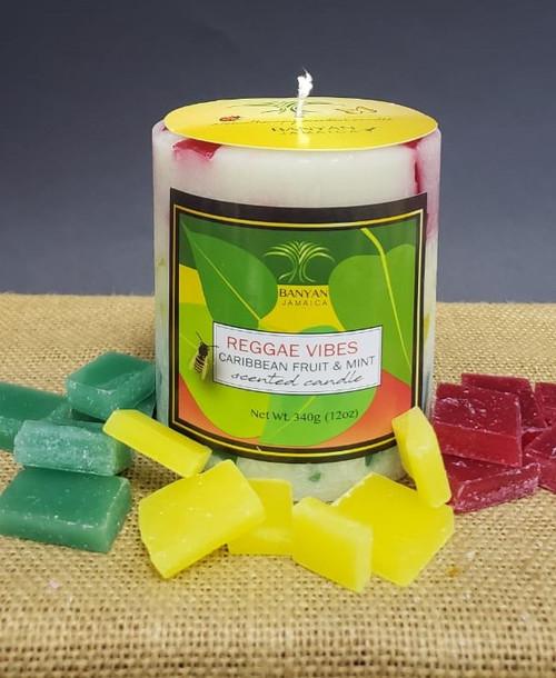 Caribbean Vibes Reggae Style Chunky Pillar candle-12oz
