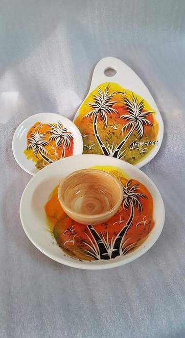 Frazer's Ceramics Palm Tree Large Cheese Board, Saucer, Chip & Dip
